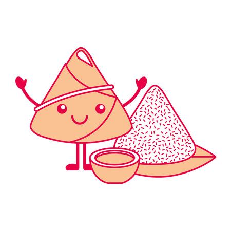 ソース漫画ベクトルイラストで可愛い幸せなお米餃子