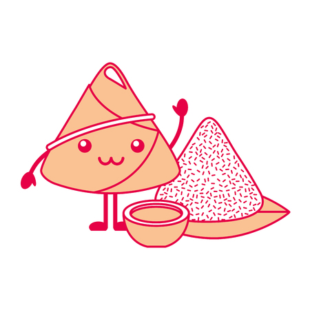 kawaii happy rice dumpling with sauce cartoon vector illustration