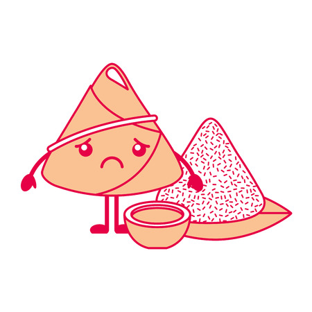 kawaii sad rice dumpling with sauce cartoon vector illustration Illustration