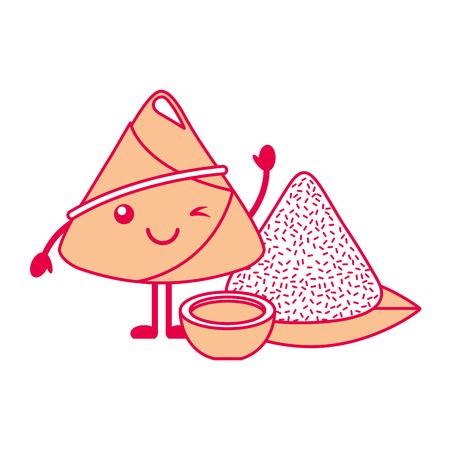 ソース漫画ベクトルイラスト付きカワイイライス餃子