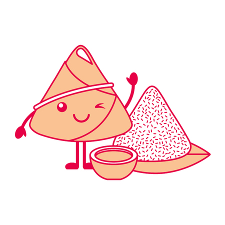 Kawaii rice dumpling with sauce cartoon vector illustration
