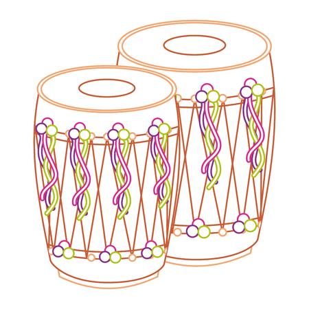 pair musical instrument punjabi drum dhol indian traditional vector illustration line color design Illustration
