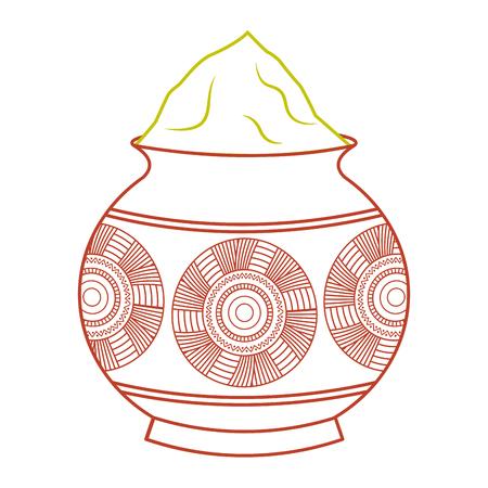 powder color mud pot and mandala vector illustration line color design