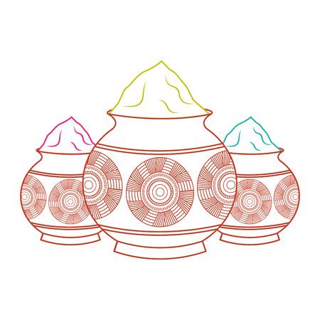 three powder color mud pot and mandala vector illustration line color design