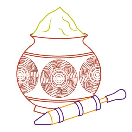 powder color mud pot and for celebration vector illustration line color design