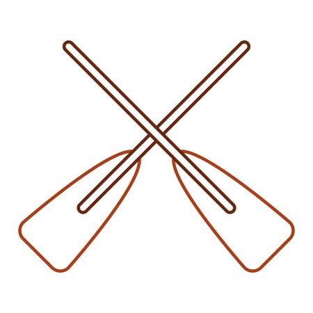 2つの木製の交差したボートオールスポーツベクトルイラストラインカラーデザイン  イラスト・ベクター素材