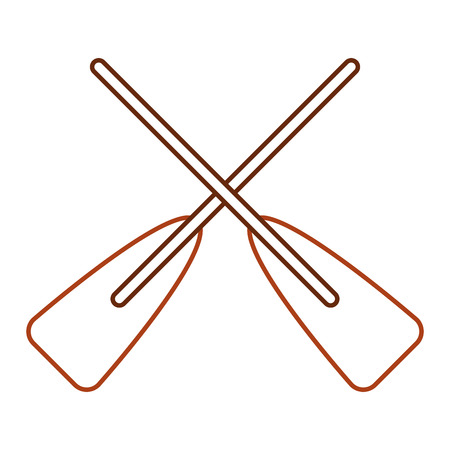 two wooden crossed boat oars sport vector illustration line color design