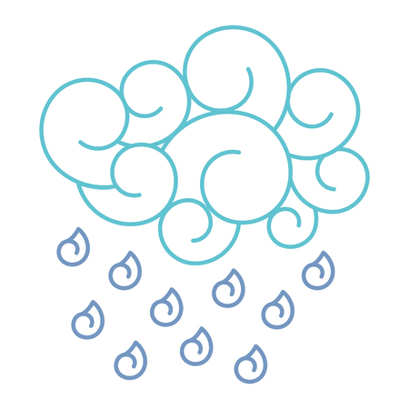 blue cloud rain drops atmosphere cartoon image vector illustration line color design Illustration