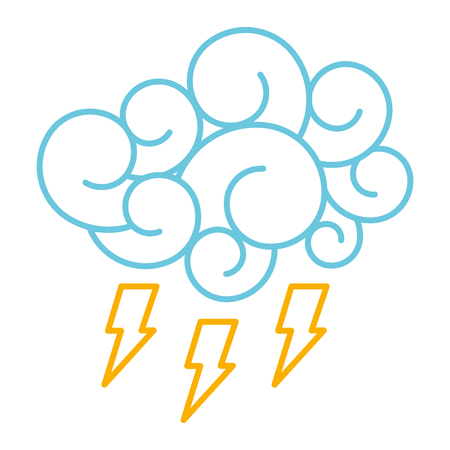 blue cloud thunderbolt storm cartoon image vector illustration line color design
