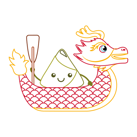 red dragon rice dumpling paddling festival chinese vector illustration line color design Illustration