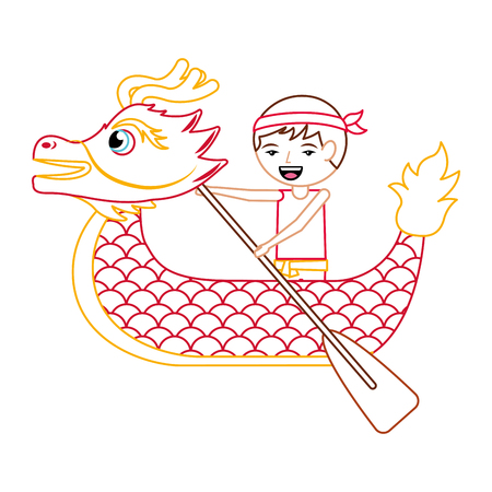 red dragon man rowing festival chinese traditional vector illustration line color design