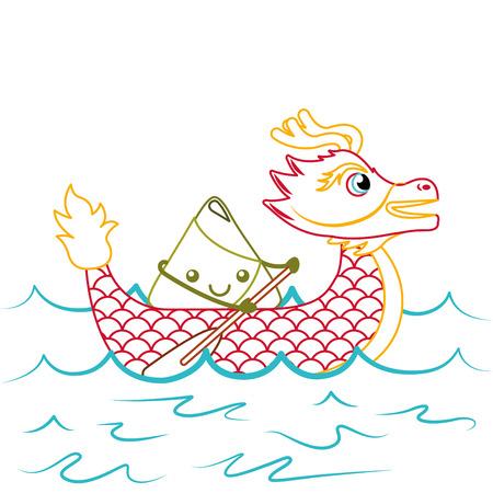 rode draak rijst knoedel peddelen festival Chinees vector illustratie lijn kleur ontwerp