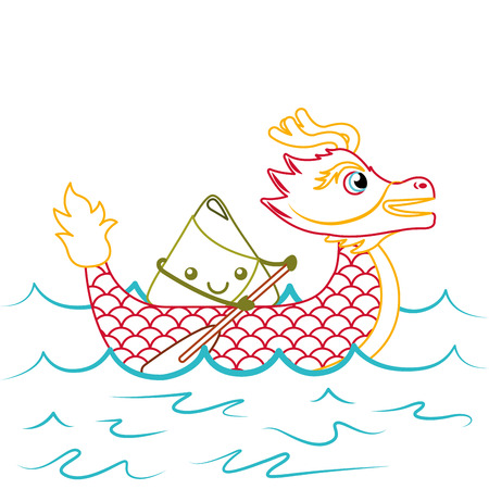 red dragon rice dumpling paddling festival chinese vector illustration line color design Illustration