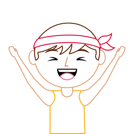 portrait cartoon laughing man chinese with head band vector illustration line color design