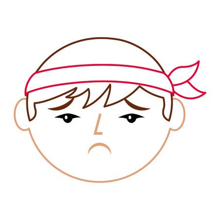 cartoon verdrietig gezicht chinese man vector illustratie lijn kleur ontwerp Stock Illustratie