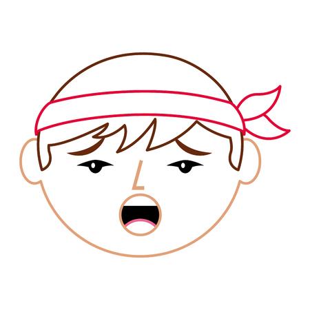 Cartone animato faccia uomo cinese parlando infelice illustrazione vettoriale linea colore design Archivio Fotografico - 94687413