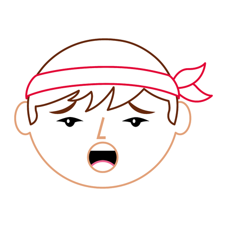 cartoon face chinese man talking unhappy vector illustration line color design