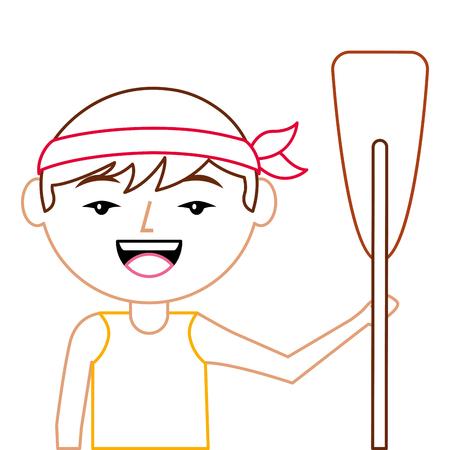 portret cartoon man Chinees met houten roeispaan vector illustratie lijn kleur ontwerp Stock Illustratie