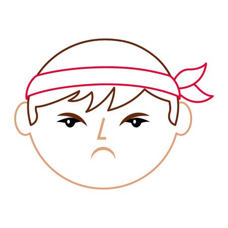 cartoon gezicht boos Chinees man vector illustratie lijn kleur ontwerp Stock Illustratie