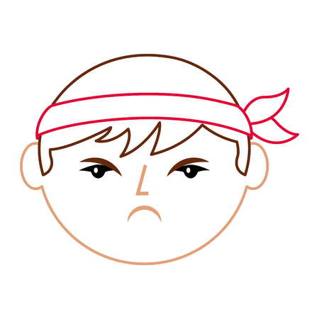 cartoon face angry chinese man vector illustration line color design Illustration