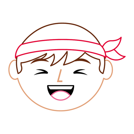 cartoon face laughing chinese man vector illustration line color design