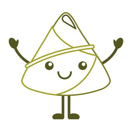 kawaii happy rice dumpling cartoon vector illustration line color design