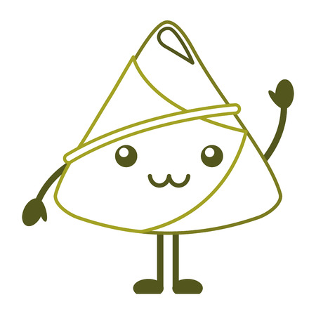 kawaii happy rice dumpling greeting cartoon vector illustration line color design Çizim