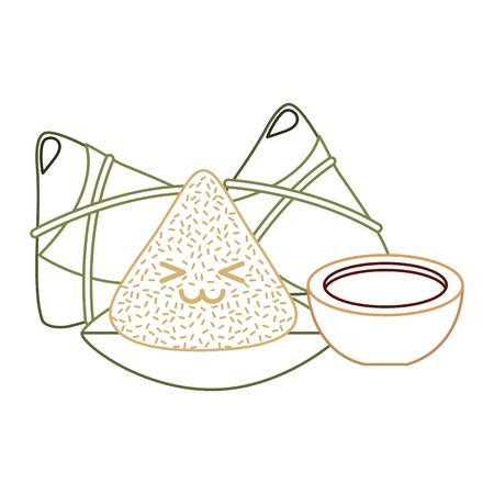 Kawaii gelukkig rijst knoedel en saus cartoon vector illustratie lijn kleur ontwerp