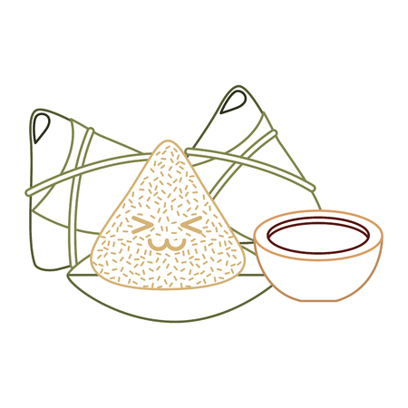 kawaii happy rice dumpling and sauce cartoon vector illustration line color design