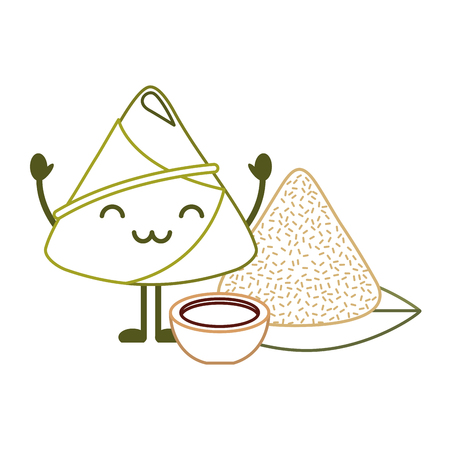 kawaii rice dumpling with sauce cartoon vector illustration line color design