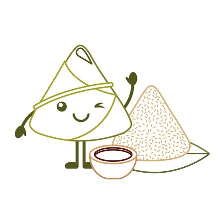 카와이이 만두 소스와 만화 벡터 일러스트 라인 컬러 디자인