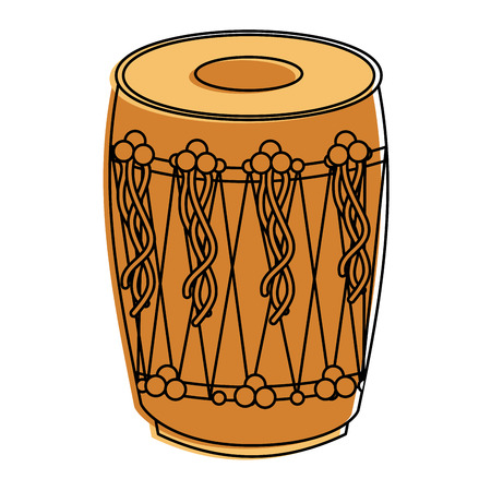 musical instrument punjabi drum dhol indian traditional vector illustration