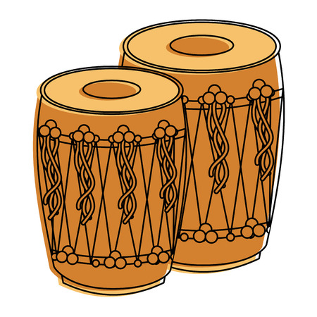 pair musical instrument punjabi drum dhol indian traditional vector illustration