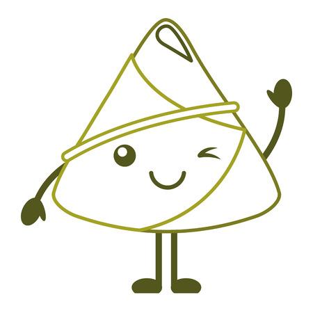 happy rice dumpling winking cartoon vector illustration line color design 向量圖像