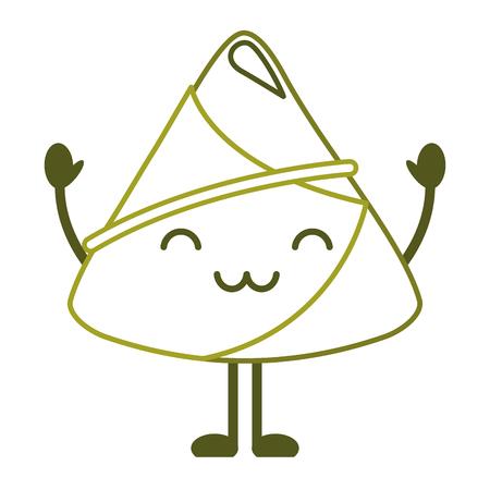 ハッピーライス餃子漫画ベクトルイラストラインカラーデザイン