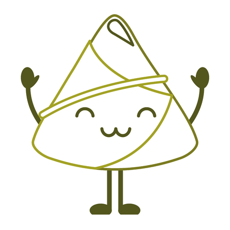 happy rice dumpling cartoon vector illustration line color design