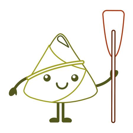 happy rice dumpling holding wooden oar vector illustration line color design