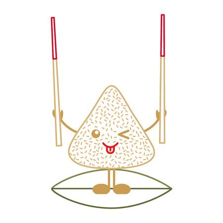happy rice dumpling holding wooden sticks vector illustration line color design
