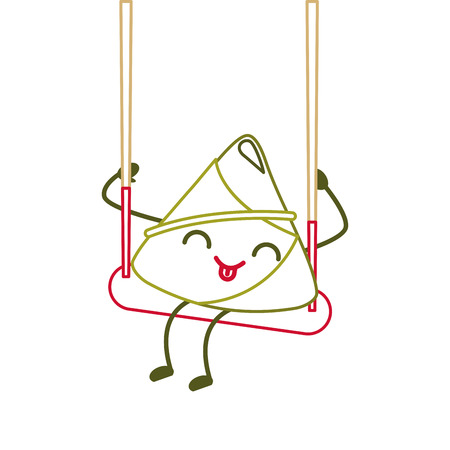 happy rice dumpling in swing play cartoon vector illustration line color design 向量圖像