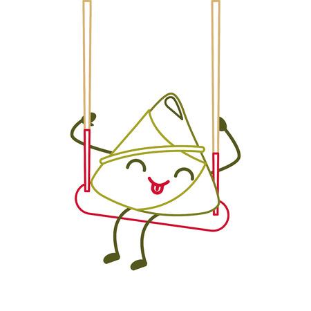 happy rice dumpling in swing play cartoon vector illustration line color design Ilustrace