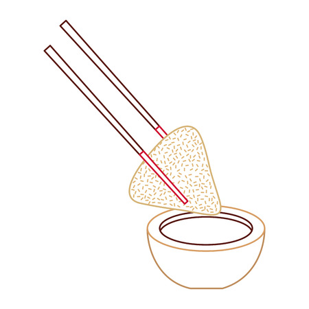dumpling rice plate and soy sauce with sticks traditional vector illustration line color design