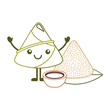 happy rice dumpling with sauce cartoon vector illustration line color design