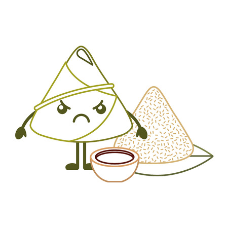 angry rice dumpling with sauce cartoon vector illustration line color design Illustration