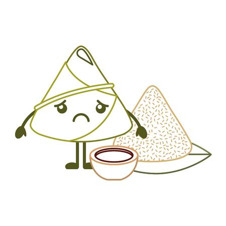 sad rice dumpling with sauce cartoon vector illustration line color design Ilustrace