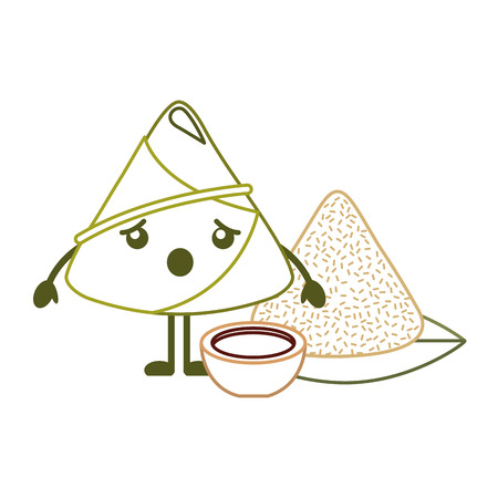 surprised rice dumpling with sauce cartoon vector illustration line color design