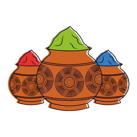 three powder color mud pot and mandala vector illustration 向量圖像