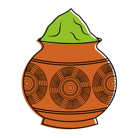 powder color mud pot and mandala vector illustration Ilustrace