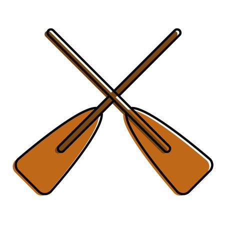 두 나무 넘어 보트 oars 스포츠 벡터 일러스트