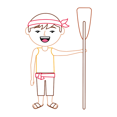funny cartoon chinese man standing holding wooden oar vector illustration line color design