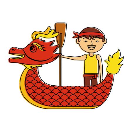 赤いドラゴンマン漕ぎ祭中国の伝統的なベクトルイラスト